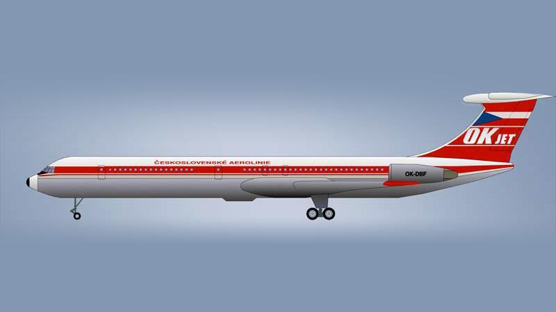 Iljušin Il-62 v barvách ČSA