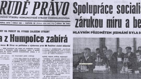 Titulní strana Rudého práva ze srpna 1970