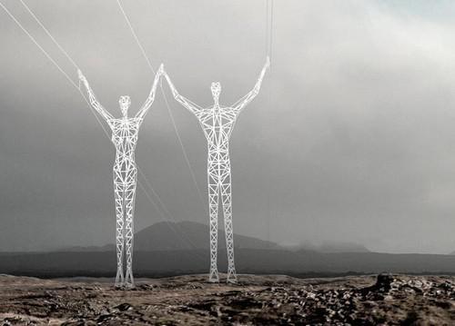 Sloupy ve tvaru lidských postav navržené pro Island