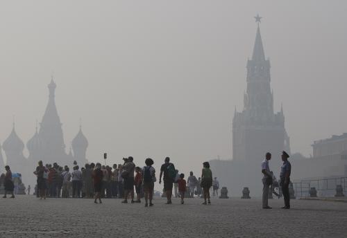 Moskva v dýmu z lesních požárů