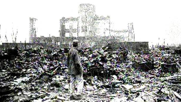 Ruiny města po ničivém výbuchu