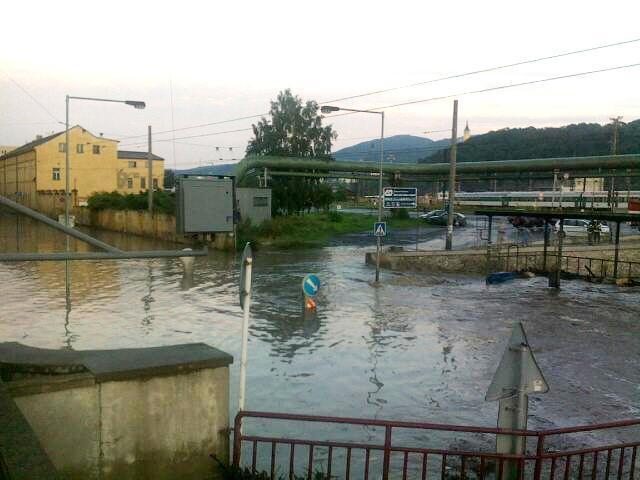Zaplavené centrum Ústí nad Labem