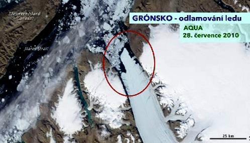 Kra odtržená od Petermannova ledovce zaznamenaná družicí Aqua