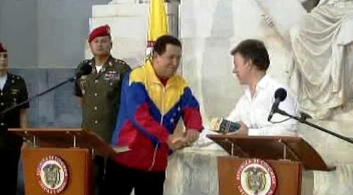 Hugo Chávez  a Juan Manuel Santos