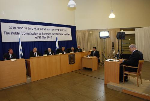 Benjamin Netanjahu před komisí