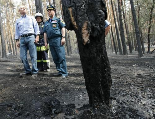 Vladimir Putin na inspekci spáleniště