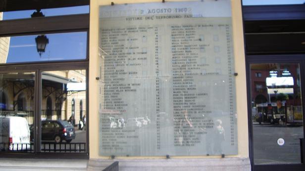Památník obětem teroristický útok v Boloni v srpnu 1980
