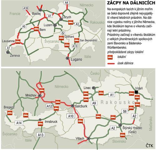 Zácpy na evropských dálnicích