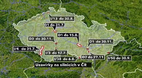 Uzavírky na silnicích v ČR