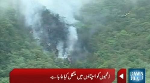 Místo zřícení pákistánského letadla