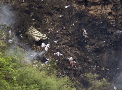 Místo havárie pákistánského Airbusu
