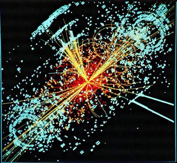 Simulace srážky v detektoru v LHC
