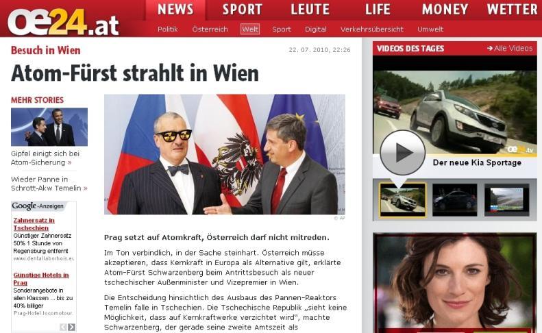 Deník Österreich označil Schwarzenberga za \