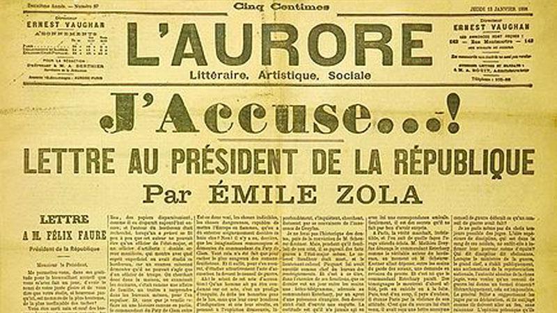 Článek Émila Zoly na obranu Alfreda Dreyfuse