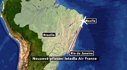 Nouzové přistání letadla Air France