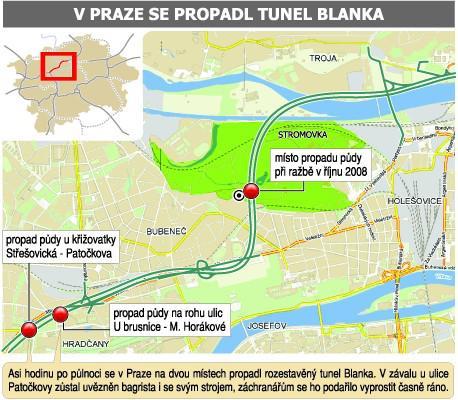 Místa propadu tunelu Blanka