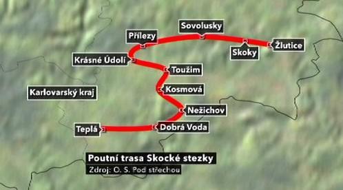 Mapa nejdelší poutní stezky v Čechách