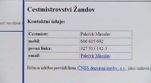 Internetová informace o cestmistrech