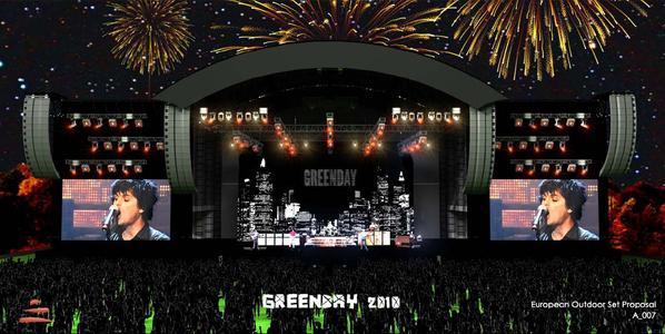 Pódium pro koncert Green Day v Praze