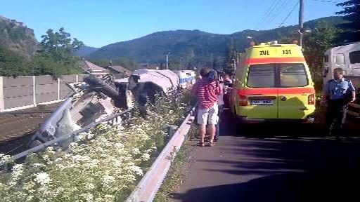 Záchranáři u železničního neštěstí