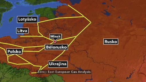 Mapa východoevropských plynovodů