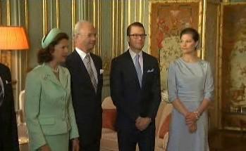 Švédský král Karel Gustav s chotí, dcerou a budoucím zetěm