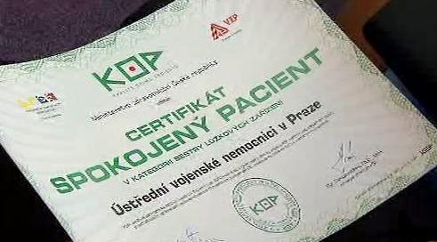 Certifikát Spokojený pacient