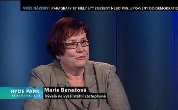 Marie Benešová jako host Hyde Parku
