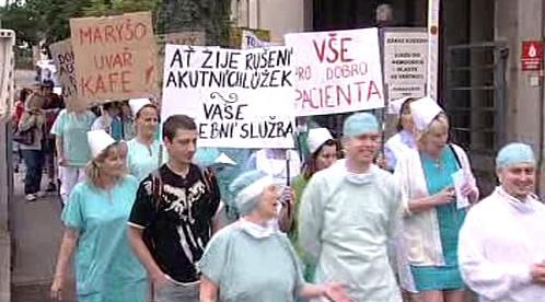 Protest zaměstnanců opočenské nemocnice