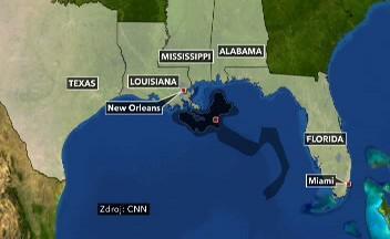 Postup ropné skvrny směrem k floridským břehům