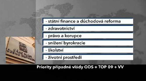 Priority případné vlády ODS, TOP 09 a VV
