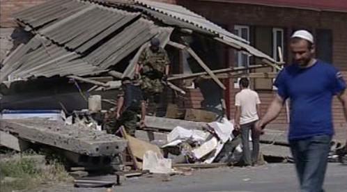 Následky výbuchu v Ingušsku