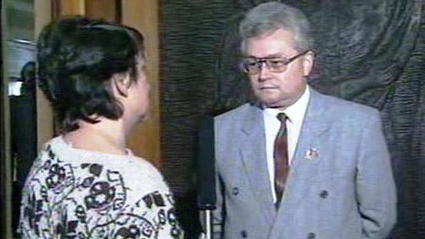Josef Bartončík před volbami v roce 1990