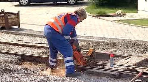 Práce na tramvajové trati