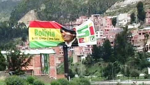 Billboard s bolivijským prezidentem Moralesem