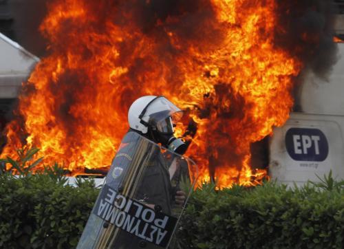 Policejní zásah proti protestům v Aténách