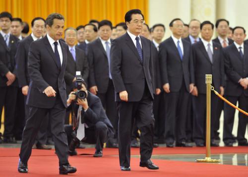 Nicolas Sarkozy a Chu Ťin-tchao