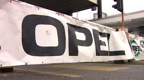 Blokáda brány továrny Opelu