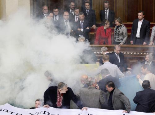 Bitka v ukrajinském parlamentu