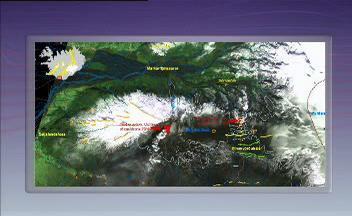 Satelitní mapa aktivity vulkánů Eyjafjallajökull a Katla
