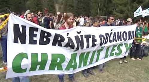 Protest slovenských ochránců přírody