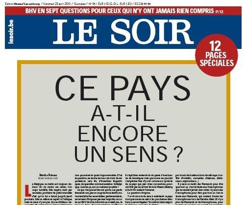 Le Soir z 23. dubna 2010