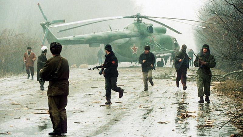 Ruské jednotky při intervenci v Čečensku