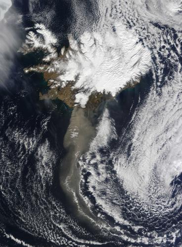 Satelitní snímek islandské sopky