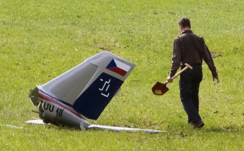 Část zříceného letadla