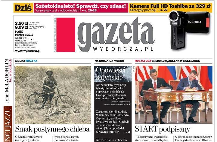 Gazeta wyborcza o podpisu smlouvy START