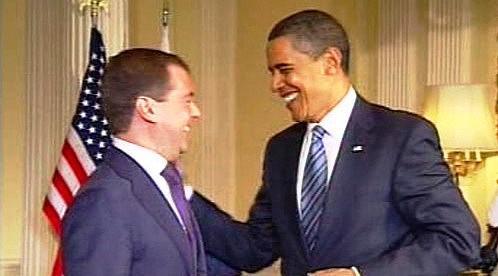 Dmitrij Medvěděv a Barack Obama