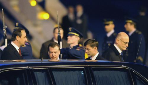Přílet Dmitrije Medvěděva