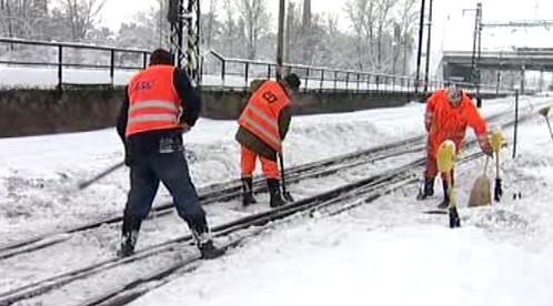 Odklízení sněhu z výhybek