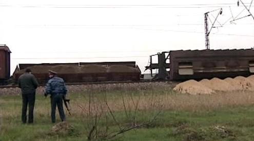 Vykolejený vlak v Dagestánu